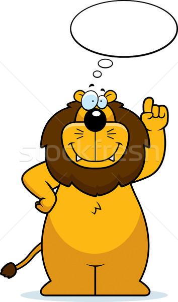 лев мышления счастливым Cartoon улыбаясь облаке Сток-фото © cthoman