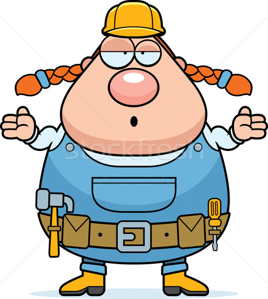 Bouwvakker verward cartoon vrouw werknemer tool Stockfoto © cthoman