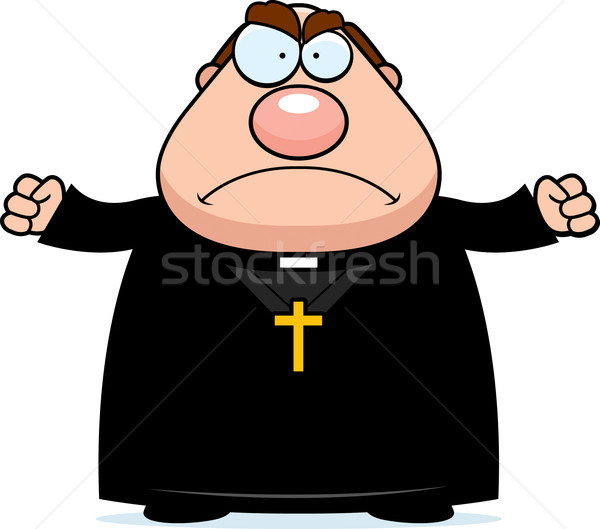 Arrabbiato cartoon sacerdote illustrazione guardando uomini Foto d'archivio © cthoman