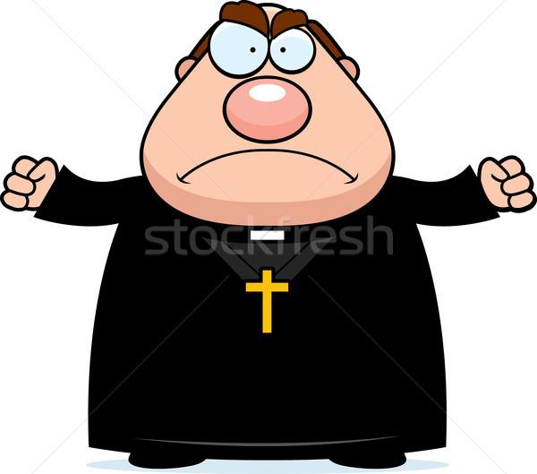 Boos cartoon priester illustratie naar mannen Stockfoto © cthoman