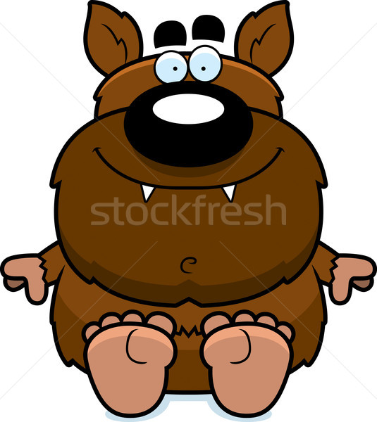 Cartoon Werewolf Sitting Stock photo © cthoman