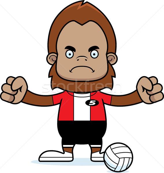 Karikatür öfkeli voleybol oyuncu bakıyor spor Stok fotoğraf © cthoman