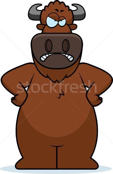 Cartoon Buffalo Angry Stock photo © cthoman