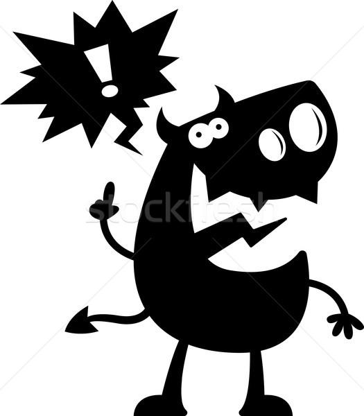 Desenho animado diabo silhueta falante feliz preto e branco Foto stock © cthoman