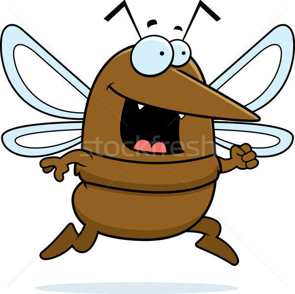 Zanzara esecuzione felice cartoon sorridere animale Foto d'archivio © cthoman