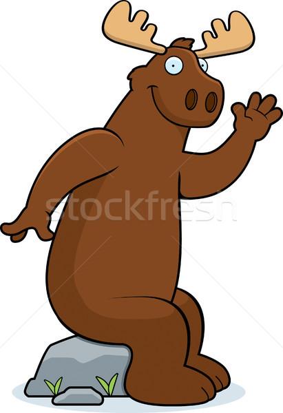 Moose seduta felice cartoon sorridere Foto d'archivio © cthoman