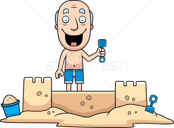 Homme sandcastle cartoon illustration bâtiment été Photo stock © cthoman