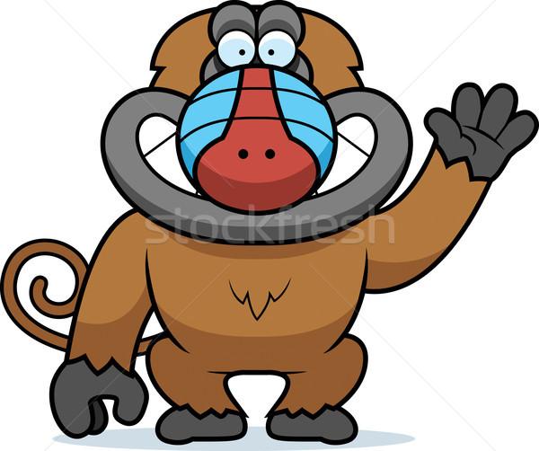 Cartoon бабуин иллюстрация улыбаясь графических Сток-фото © cthoman