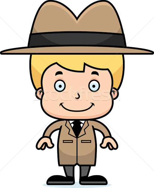 Cartoon Smiling Detective Boy Stock photo © cthoman