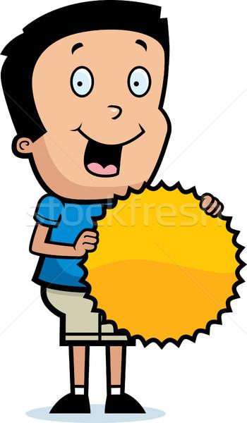 Rajz fiú kitörés felirat illusztráció boldog Stock fotó © cthoman