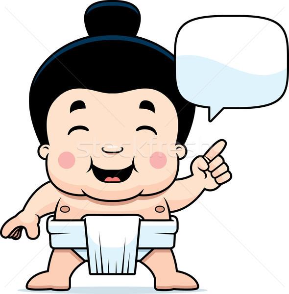 Cartoon Sumo Boy Talking Stock photo © cthoman