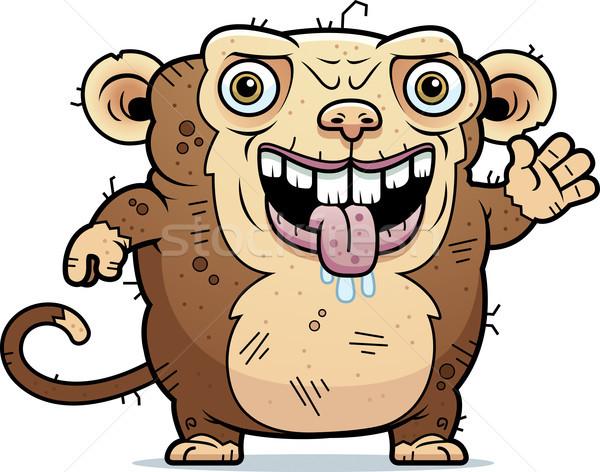 Lelijk aap cartoon illustratie dier Stockfoto © cthoman