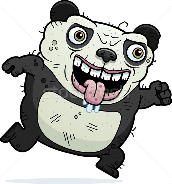 Lelijk panda lopen cartoon illustratie beer Stockfoto © cthoman