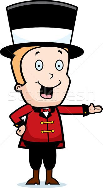 Kind gelukkig cartoon glimlachend presenteren jongen Stockfoto © cthoman