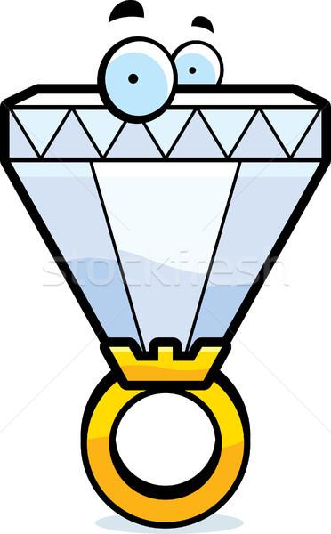 Rajz gyémántgyűrű nagy szemek esküvő szeretet Stock fotó © cthoman
