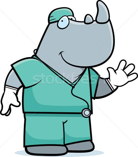 Desenho animado rinoceronte médico ilustração animal Foto stock © cthoman