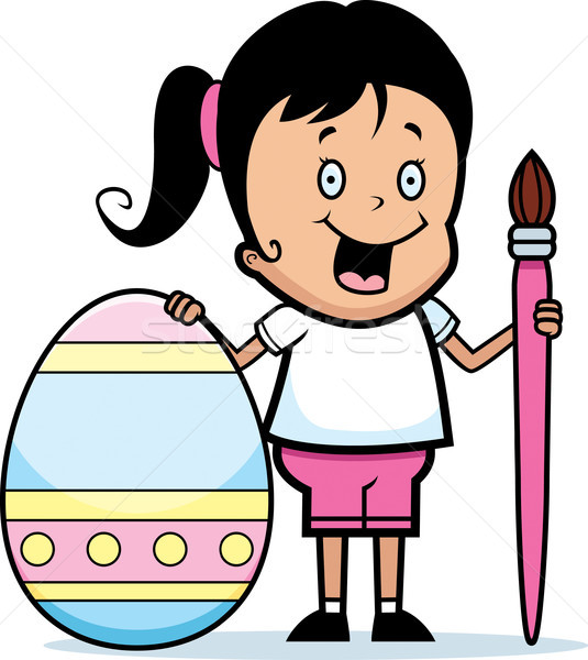 Cartoon Girl Painting Easter Egg Stock photo © cthoman