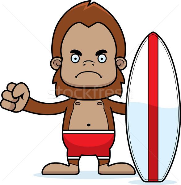 Cartoon Angry Surfer Sasquatch Stock photo © cthoman