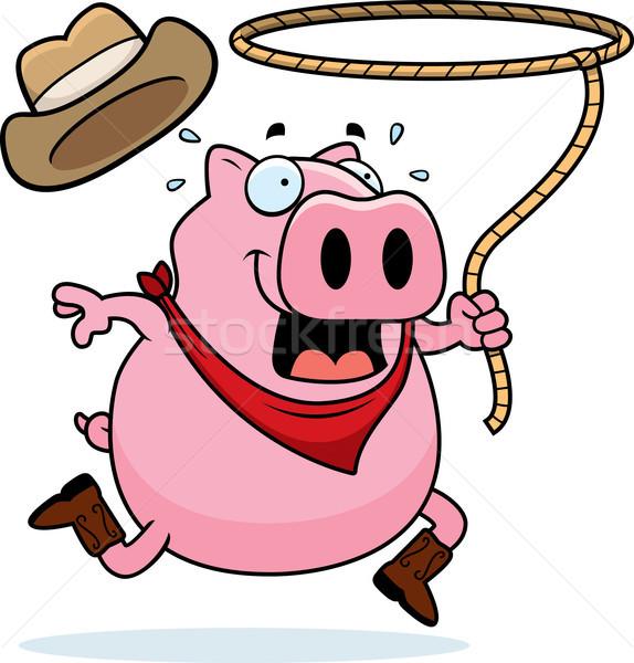 ロデオ 豚 幸せ 漫画 カウボーイ ロープ ストックフォト © cthoman