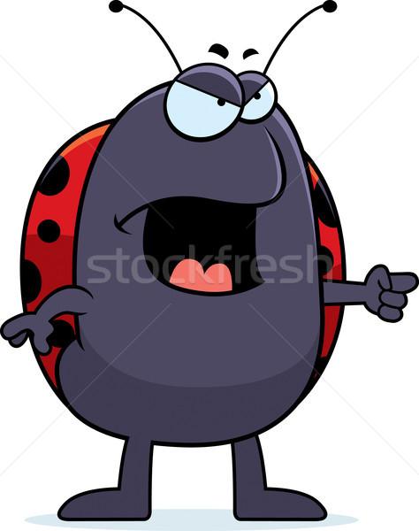Boos lieveheersbeestje cartoon naar wijzend Stockfoto © cthoman