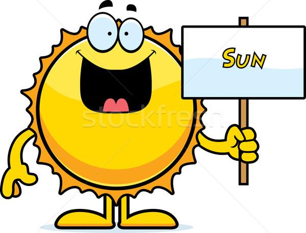 Cartoon zon teken illustratie gelukkig Stockfoto © cthoman