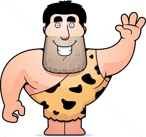 Höhlenmensch glücklich Karikatur lächelnd Stock foto © cthoman