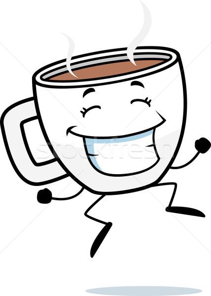 xícara de café saltando feliz desenho animado copo