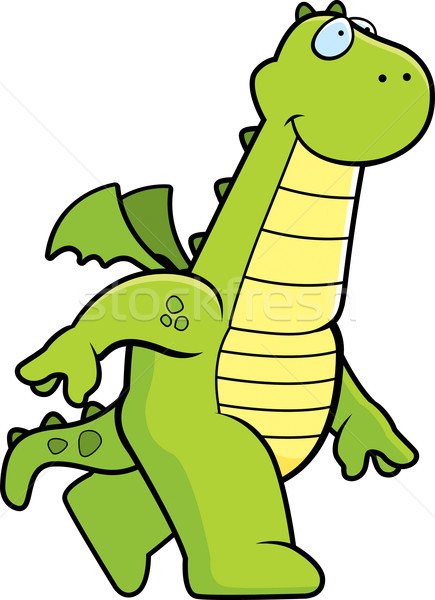 Dragão caminhada feliz desenho animado sorridente Foto stock © cthoman