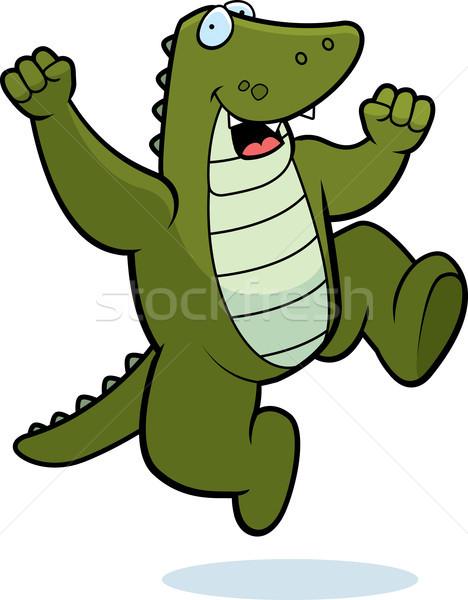 Jacaré saltando feliz desenho animado sorridente sucesso Foto stock © cthoman