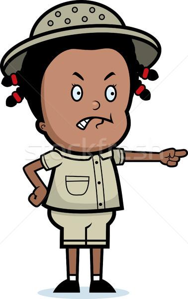 Zangado explorador desenho animado criança indicação preto Foto stock © cthoman