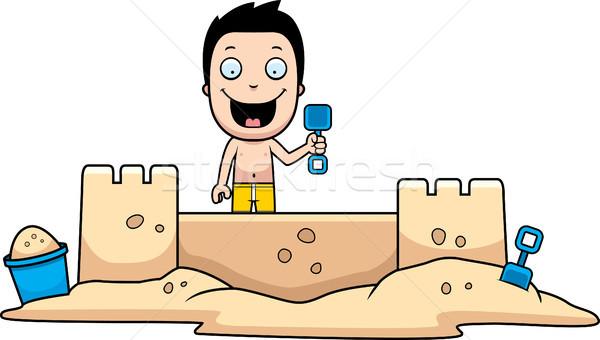 мальчика двухуровневый стробирующий импульс Cartoon иллюстрация здании пляж Сток-фото © cthoman