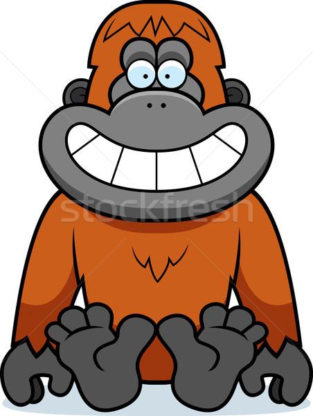 Karikatür orangutan oturma örnek gülen Stok fotoğraf © cthoman