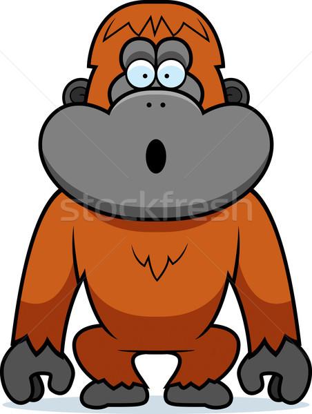 Orangutan şaşırmış karikatür örnek bakıyor hayvan Stok fotoğraf © cthoman