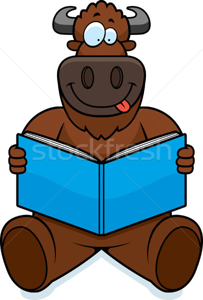 Cartoon Buffalo Reading Stock photo © cthoman