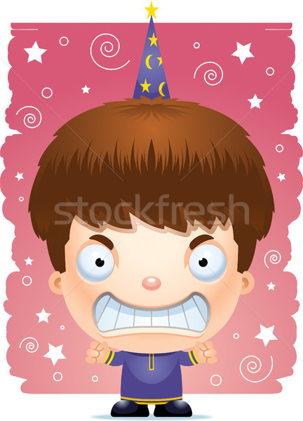 Cartoon Angry Boy Wizard Stock photo © cthoman