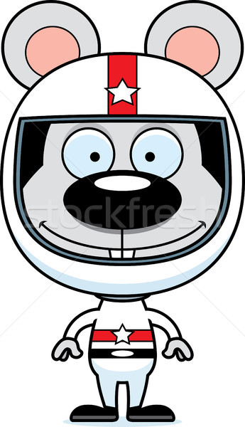 Cartoon Smiling Race Car Driver Mouse Stock photo © cthoman