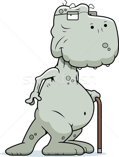 Oude dinosaurus gelukkig cartoon riet Stockfoto © cthoman