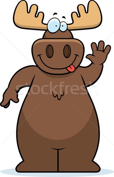Moose felice cartoon sorridere Foto d'archivio © cthoman