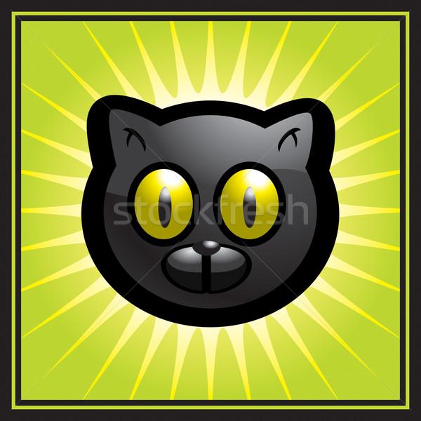 Gato preto desenho animado amarelo animal Foto stock © cthoman