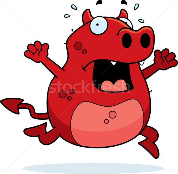 悪魔 パニック 漫画 を実行して 動物 恐怖 ストックフォト © cthoman