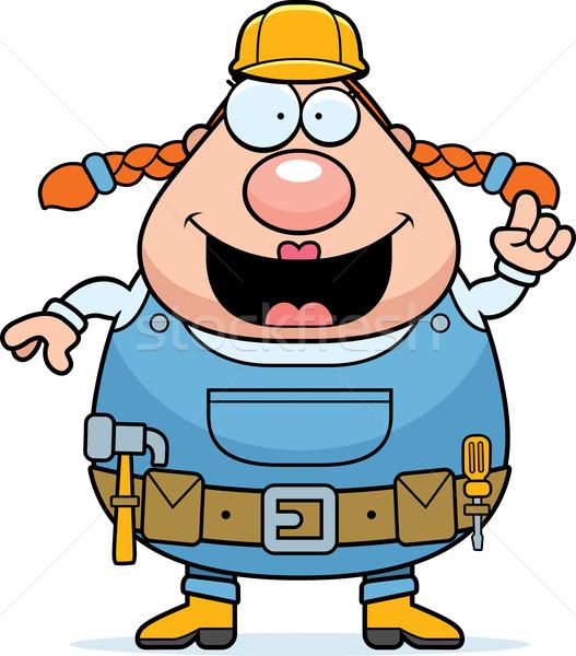 Bouwvakker idee gelukkig cartoon vrouw bouw Stockfoto © cthoman