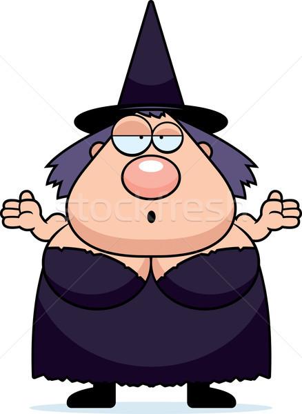 Karikatür cadı karışık kız siyah yağ Stok fotoğraf © cthoman