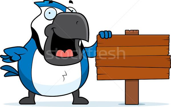 Cartoon Blauw teken dier glimlachend Stockfoto © cthoman
