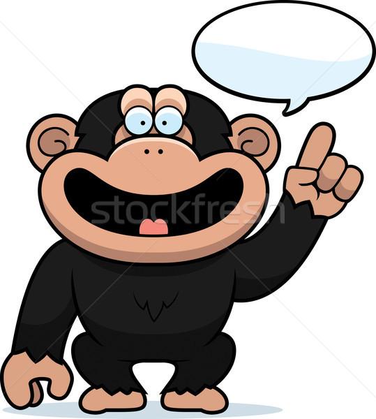 Cartoon chimpansee praten illustratie denken grafische Stockfoto © cthoman
