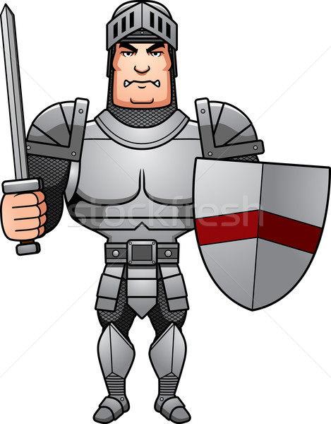 Cartoon chevalier bataille illustration Homme prêt Photo stock © cthoman