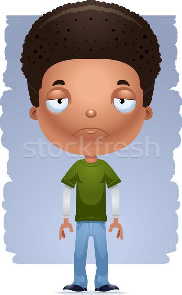 Cartoon triest teen jongen illustratie Stockfoto © cthoman