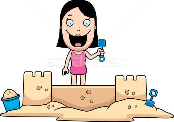 Woman Sandcastle Stock photo © cthoman