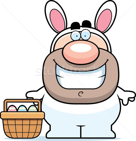 Lapin de Pâques panier cartoon illustration souriant homme Photo stock © cthoman