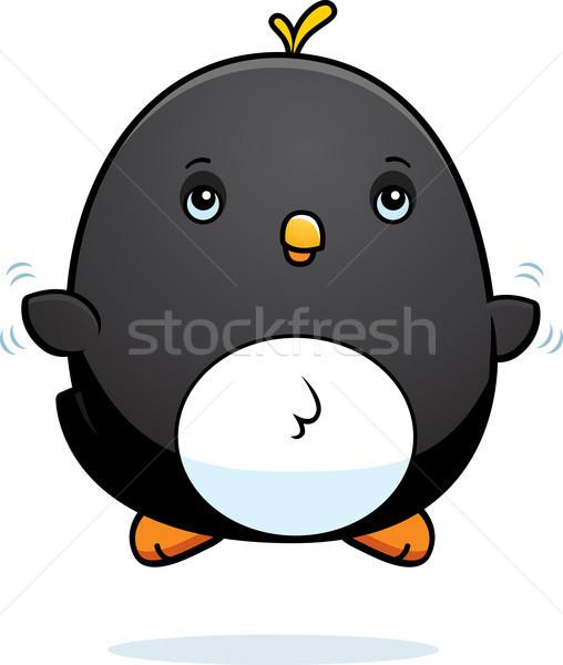 Stock photo: Cartoon Baby Penguin Fly