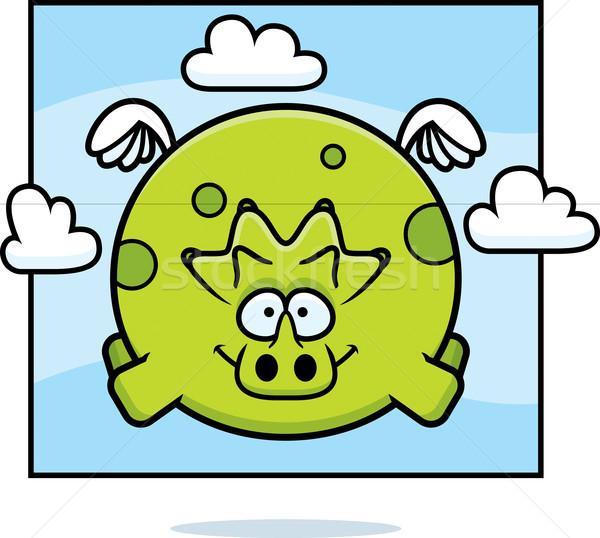 Cartoon Triceratops in the Sky Stock photo © cthoman